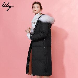 【每满200减100】Lily2018冬新款女装时尚修身长款可脱卸毛领羽绒服117429D1940