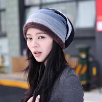 帽子女韩版潮秋冬保暖套头帽格纹包头帽加绒加厚保暖月子帽孕妇帽 均码有弹力