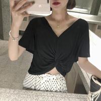 上衣短款黑色莫代尔T恤衣服女V领打底衫街拍款夏 黑色 均码