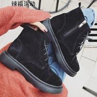 欧美短靴女春秋季新款百搭低跟平底侧拉链马丁靴及踝骑士靴子