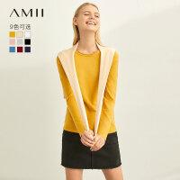 【到手价:68元】Amii极简通勤薄款修身毛针织衫女2019秋新款圆领套头打底毛衣上衣