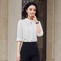 【产地直销,小二推荐】2020春新款时尚雪纺衫女时尚洋气套装设计感小众轻熟白色职业衬衣