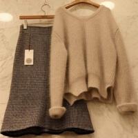 秋冬女装气质毛衣针织衫格子中长款半身鱼尾裙套装女两件套时尚潮 上下 2件套
