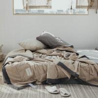 家纺简约水洗全棉夏凉被纯色北欧风纯棉双人空调被单人薄被子床上用品