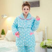 秋冬季月子服三层加厚夹棉孕妇睡衣套装桃心喂奶衣哺乳衣套装C012