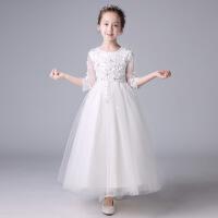 花童礼服女童公主裙儿童婚纱裙蓬蓬纱白色钢琴演出服小主持人女孩