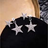 纯银星星耳环女韩国气质长款五角星耳钉百搭简约个性耳坠耳饰品