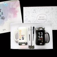 生日礼物情侣杯子一对创意简约大容量早餐陶瓷杯咖啡牛奶杯马克杯带盖水杯送女友送男友送朋友送女友 +礼盒+礼品袋