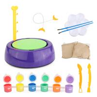 儿童diy软陶泥学生手工制作陶艺机益智陶土玩具粘土套装陶瓷免烧 陶泥机 6颜料+2块泥