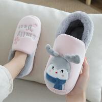 卡通可爱棉拖鞋女冬季情侣韩版室内居家用保暖毛绒家居棉鞋男加厚