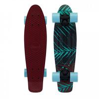 滑板四轮滑板车男女儿童小鱼板刷街单代步翘板公路滑板 酒红色