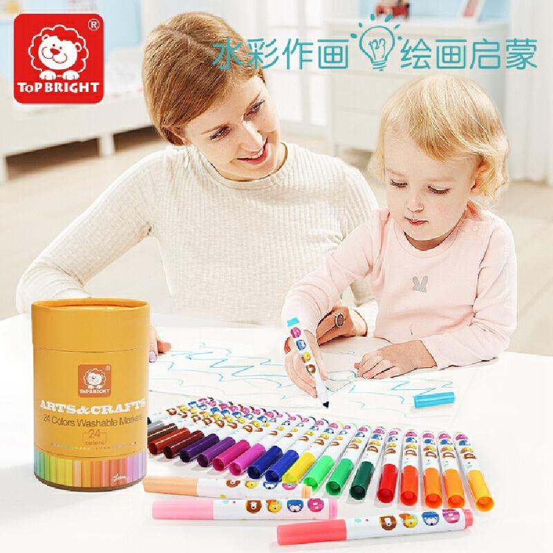 特宝儿 儿童画笔可水洗水彩笔宝宝画画笔涂色涂鸦彩色笔12色/24色套装120274-120275