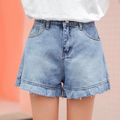 RANJU 然聚2018女装夏季新品新款高腰宽松百搭荷叶边牛仔阔腿短裤女