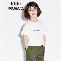 littlemoco春季新品儿童T恤纯棉立体胶质彩色字母圆领短袖T恤