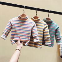 男女童长袖宝宝加绒打底衫条纹1-3小童婴儿童保暖上衣