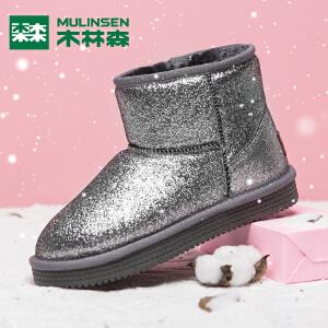 木林森女鞋加绒保暖雪地靴女短筒秋冬套筒休闲鞋亮面高帮鞋女