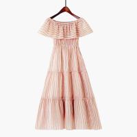 2018夏季新款韩版荷叶边显瘦沙滩裙长裙一字领露肩条纹雪纺连衣裙
