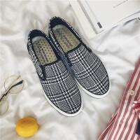 夏季新款男士帆布鞋韩版男鞋低帮透气休闲鞋一脚蹬懒人鞋格子布鞋