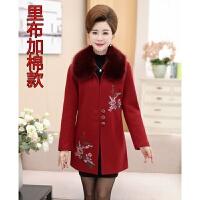 新款妈妈秋冬装毛呢外套时尚中老年女装中长款40-50岁保暖棉衣服