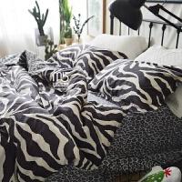 家纺纯棉床单被罩床笠床套三四件套全棉北欧美风豹纹1.5m1.8m床上用品