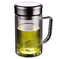 富光双层玻璃杯X1501-BSPT-380带手柄办公茶杯带滤网便携水杯