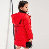 【每满200减100 多买多减 不封顶】amii女儿童洋气冬装女童羽绒服红色外套2017新韩版时尚过膝加厚#
