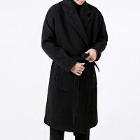 韩版毛呢大衣男中长款青年韩版风衣双面呢 男青年宽松外套 潮 黑色加棉 S