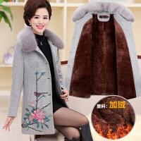 中老年女装秋毛呢外套妈妈装冬装加绒外套中长款中年女装40-50岁