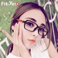 韩版蝴蝶结可爱眼镜框女款圆脸眼镜 潮人复古平视光学眼睛框