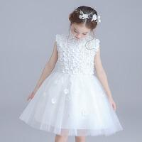 儿童钢琴表演服 秋冬公主裙女童礼服童婚纱蓬蓬裙中大童 白色