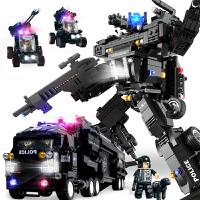 儿童拼装积木玩具14岁以上男孩子积木小颗粒特警军事警察