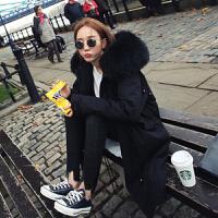 冬装新款韩版貉子真毛领羽绒服女中长款加厚外套 黑色