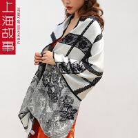 上海故事韩版新款超仙飘逸双层真丝立体蕾丝印花丝桑蚕丝围巾女款