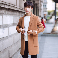 秋冬中长款风衣男士韩版修身休闲外套学生男大衣个性潮流衣服 驼色 M