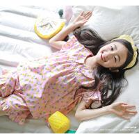 夏季�和�家居服套�b�棉女童碎花短袖套�b中大童����睡衣空�{服薄