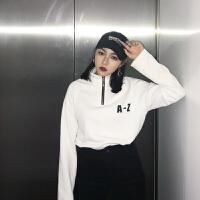 复古港味韩国chic风宽松显瘦字母印花高领长袖打底衫套头卫衣女潮