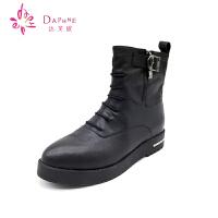 Daphne/达芙妮正品女鞋 冬季时尚马丁靴 侧边拉链短靴