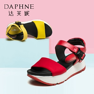 Daphne/达芙妮夏学院风休闲时尚厚底舒适凉鞋女松糕鞋
