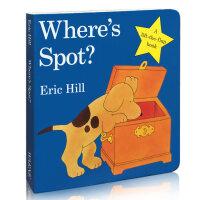 小玻翻翻书系列Where's Spot? 小玻在哪里 Eric Hill (艾瑞克・希尔)幼儿启蒙认知读物 纸板书 让小玻在翻箱倒柜寻找的乐趣中,认识物品名称和方位,开始语言启蒙