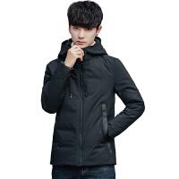 冬季羽绒服男短款韩版潮流帅气学生连帽加厚保暖修身型白鸭绒外套