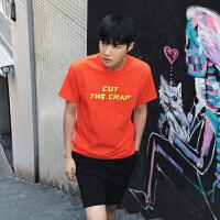 夏季新款男士纯色英文字母印花短袖T恤青年潮款短袖打底衫