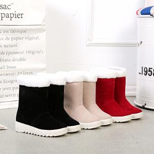 短筒雪地靴女秋冬季新款韩版保暖靴子平底百搭加绒学生棉鞋女短靴
