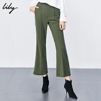 【2件3折 折后价:129】Lily女装流行绿色撞色侧条纹气质修身休闲微喇裤5928