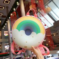 优仅ALLJOINT儿童书包可爱幼儿园双肩甜甜圈幼儿背包女童包包彩虹