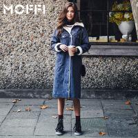 MOFFI女式风衣冬季新款欧美中长款保暖羊羔毛加绒牛仔风衣外套 蓝色