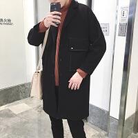 冬季中长款男士妮子大衣韩国宽松毛呢风衣潮青年羊羔绒外套潮加厚
