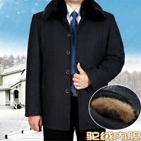 中老年男装棉衣特加肥加大冬季可脱卸内胆羊毛呢子加厚爸爸装棉袄 深灰色 驼绒 9号