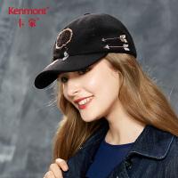 卡蒙时尚潮黑色棒球帽女刺绣出游毛呢帽子秋冬青年民族风鸭舌帽2661
