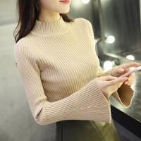 打底毛衣女短款修身紧身打底衫长袖秋冬百搭新款喇叭袖针织衫