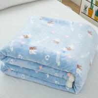 家纺日式简约毛毯加厚春秋单人双人珊瑚绒毯子双层冬季被子盖毯